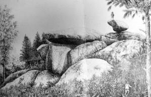 Balme et Roc Tremblant de Cannaut, dessin de Joseph Paul 1916.Sté Cult. Castraise.